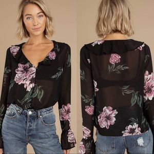 TOBI While We're Young Floral Blouse